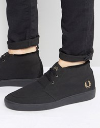 Fred Perry Shields Mid Wax Cotton Mid Trainers Black