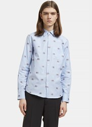 Gucci Embroidered Elephant Checked Shirt Blue