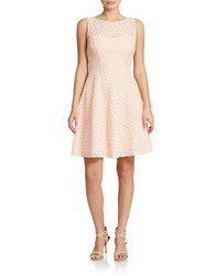 Betsey Johnson Floral Lace Fit And Flare Dress Coral