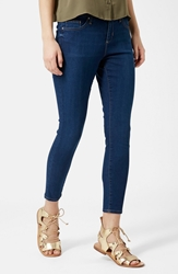 Topshop Moto 'Leigh' Ankle Skinny Jeans Navy Blue Petite