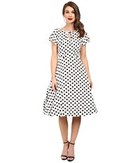 Unique Vintage Dotted Ruffle Sleeve Swing Dress White Black Women's Dress