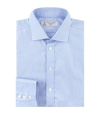 Turnbull And Asser End On End Regent Collar Cotton Shirt Blue
