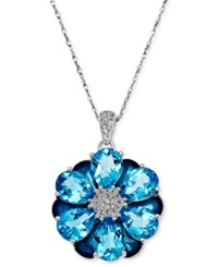 Town And Country Sterling Silver Necklace Blue Topaz Flower Pendant 13 1 2 Ct. T.W.