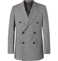 Kingsman Grey Slim Fit Unstructured Double Breasted Houndstooth Summer Weight Wool Suit Jacket Gray