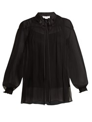 Amanda Wakeley High Neck Gathered Silk Tulle Top Black