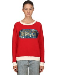 Gucci Sequined Cotton Sweatshirt Red