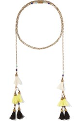 Isabel Marant Gold Tone Tassel And Bead Necklace Yellow