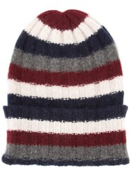 The Elder Statesman Striped Beanie Blue