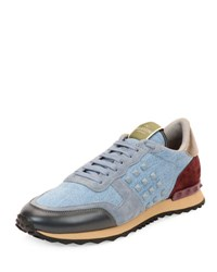 Valentino Rockstud Denim And Leather Trainer Sneaker Light Blue