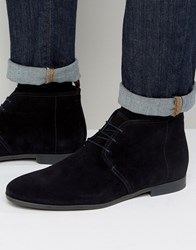 Hugo By Boss Paris Short Suede Boots Navy