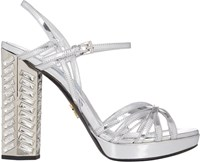 Prada Jeweled Suede Platform Sandals Silver