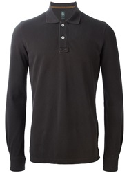 Eleventy Long Sleeve Polo Shirt Brown
