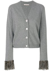 Christopher Kane Cardigan With Fringe Cuffs Polyester Viscose Cashmere Metallized Polyester M Grey