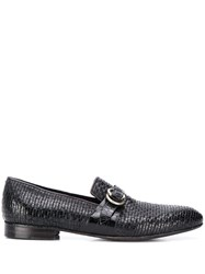 Lidfort Woven Texture Loafers Black