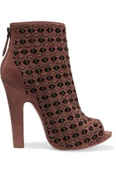 Alaia Laser Cut Suede And Leather Ankle Boots Brown
