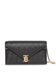 Burberry Small Quilted Monogram Tb Envelope Clutch Black