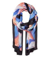 Calvin Klein Swirl Abstract Silk Scarf Porcelain Rose Scarves Pink