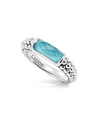 Lagos Sterling Silver Maya Escape Turquoise Doublet Stackable Ring Turquoise Silver