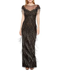 Parker Black Braxton Illusion And Bead Fringe Gown Black