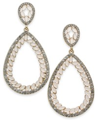 Inc International Concepts Gold Tone Stone And Pave Teardrop Drop Earrings Created For Macy's Pink