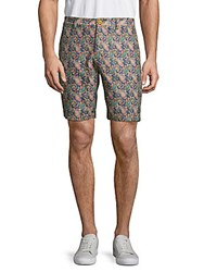 Robert Graham Paisley Linen Cotton Shorts Blue