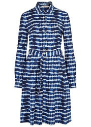 Tory Burch Derrick Tie Dyed Cotton Shirt Dress Blue And White