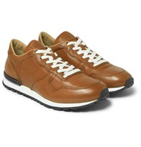 Tod's Panelled Leather Sneakers Tan