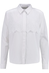 Peter Pilotto Eero Mesh Paneled Cotton Poplin Shirt White