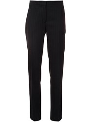 Carolina Herrera Slim Pinstripe Trousers Blue