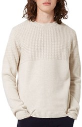 Topman Men's Textured Crewneck Sweater Cream