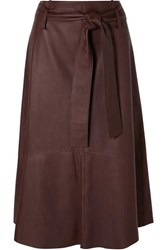 Vince Belted Leather Midi Skirt Brown