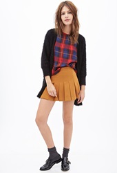 Forever 21 Sateen Plaid Blouse Red Multi