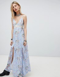 Kiss The Sky Lace Maxi Dress With Front Split And Cut Out Back Purple