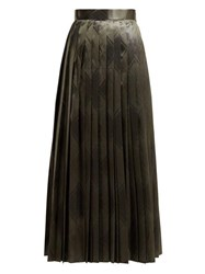 The Row Essa Pleated Silk Jacquard Skirt Mid Green