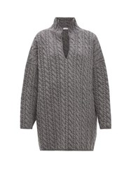 Balenciaga Oversized Cable Knit Wool Sweater Grey