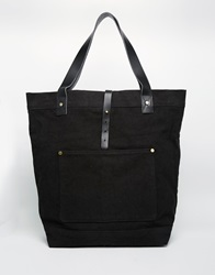 Asos Oversized Tote Bag In Black Canvas And Leather