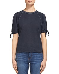 Whistles Tie Cuff Cold Shoulder Tee Navy