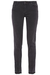 Maje Woman Anthracite Distressed Mid Rise Skinny Jeans Charcoal