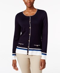 Karen Scott Petite Resort Striped Cardigan Only At Macy's Rich Navy Combo