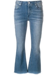 Michael Michael Kors Cropped Mid Rise Flared Jeans Blue