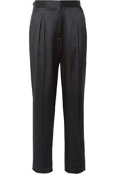 Nili Lotan Lia Silk Satin Slim Leg Pants Black