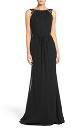 Hayley Paige Occasions Women's Lace Strap Gathered Chiffon Gown Black Black