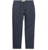 Ymc Hand Me Down Tapered Cropped Pinstriped Cotton And Linen Blend Trousers Blue