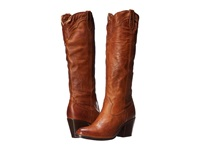 Frye Tabitha Pull On Tall Cognac Washed Antique Pull Up Cowboy Boots Brown