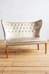 Anthropologie Premium Leather Wingback Bench Armless Ivory
