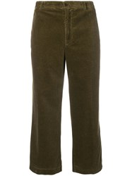 Aspesi Cropped Corduroy Trousers Green