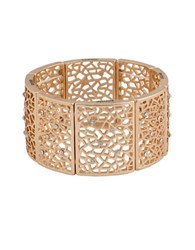 Kensie Lace Crystal Accented Cutout Stretch Bracelet Goldtone