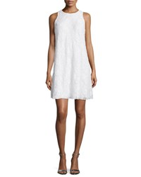 Carmen Marc Valvo Sleeveless Beaded Lace Swing Dress Ivory