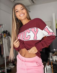 Juicy Couture Jxjc Long Sleeve Colorblock Graphic Tee Regal White