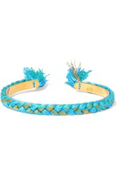 Aurelie Bidermann Copacabana Gold Plated Braided Cotton Bangle Turquoise